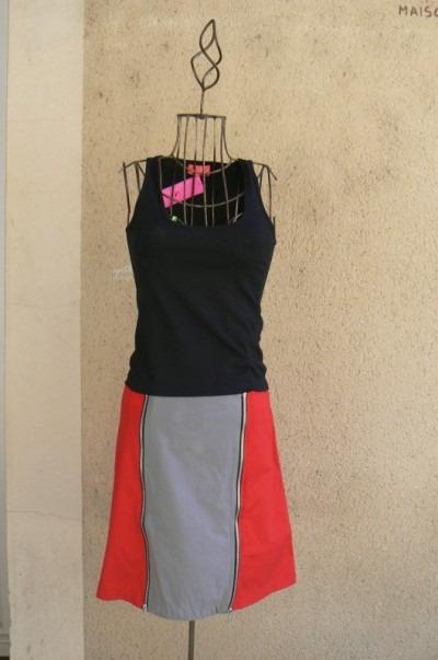 Jupe Zip, Rouge, Saya, LaTribuDistrib.com