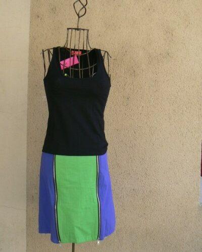 Jupe Zip, Bleu/vert, Saya, LaTribuDistrib.com