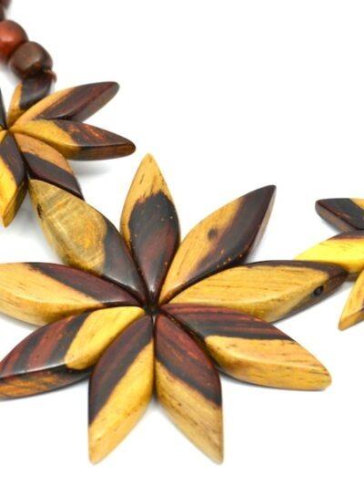 Bijoux en bois, Collier Flora, Bicolore, LaTribuDistrib.com., 2