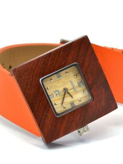 Montre en bois, Soleilia orange, Interchangeable, Palissande, www.LaTribu.shop (2)