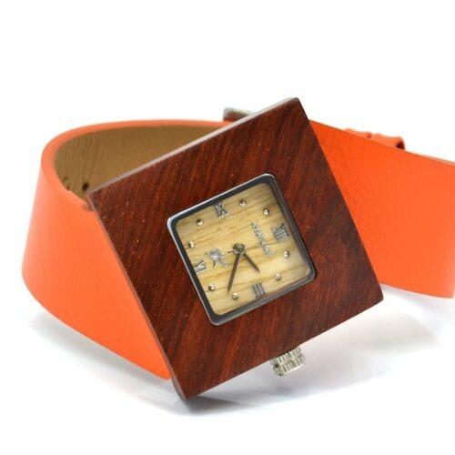 Montre en bois, Soleilia orange, Interchangeable, Palissande, www.LaTribu.shop (2)
