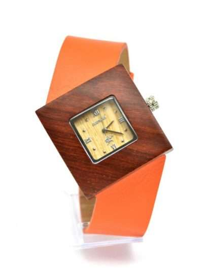 Montre en bois, Soleilia orange, Interchangeable, Palissande, Latribudistrib.com