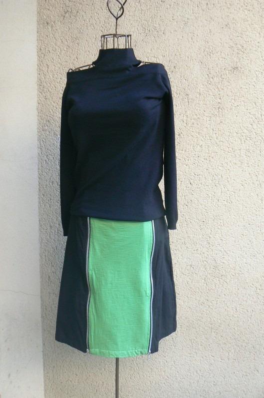 Jupe Zip, Noir/ Vert, Saya, LaTribuDistrib.com