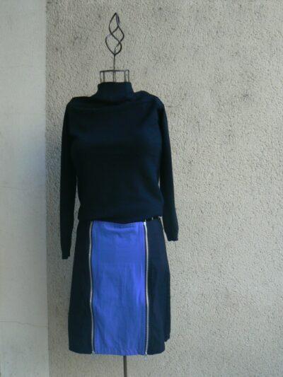 Jupe Zip, Noir/bleu, Saya, LaTribuDistrib.com