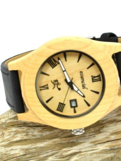 Montre en bois Tony, Érable et cuir, www.LaTribu.shop