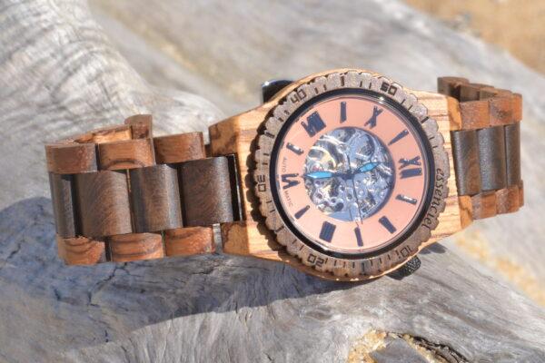 Montre en bois automatique Christopher, Zebrano et Palissandre, www.LaTribu.shop (2)