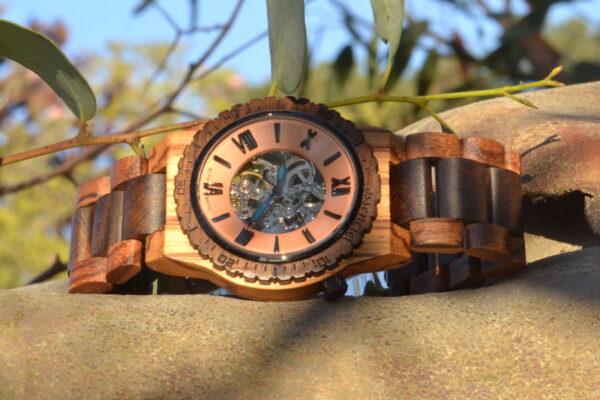 Montre en bois automatique Christopher, Zebrano et Palissandre, www.LaTribu.shop (3)