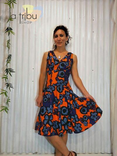 Robe retro fleurie psychedelique KaliYog (2)