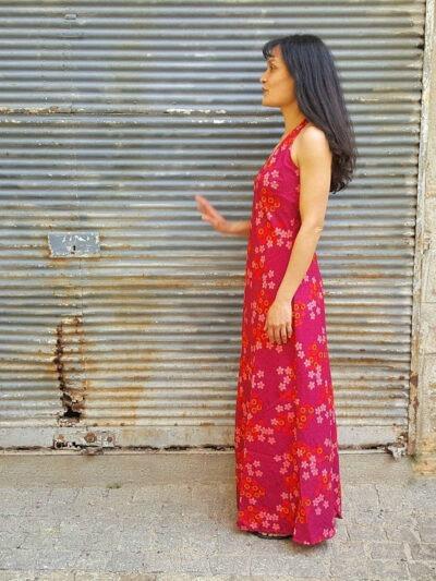 Robe Kali-Yog Pénélope longue, Flospi Pink, www.LaTribu.shop (2) allégée