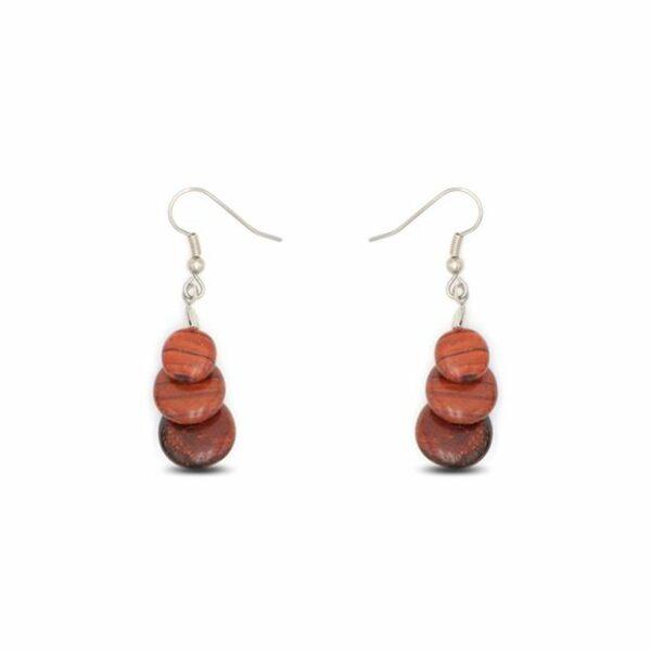 Boucles d'oreilles Sasphee, acajou, www.LaTribu.shop