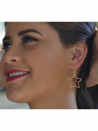 Boucles d'oreilles dorées or fin Etoile, acajou, www.LaTribu.shop (2)