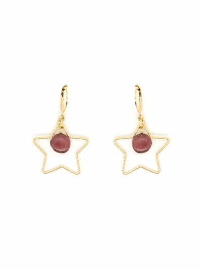 Boucles d'oreilles dorées or fin Etoile, acajou, www.LaTribu.shop