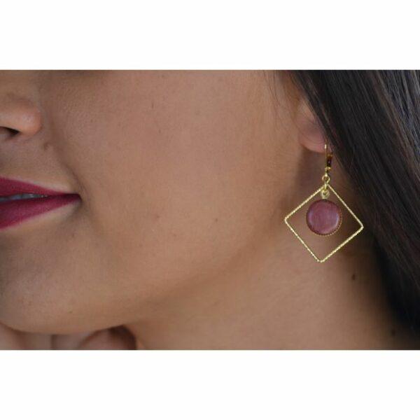 Boucles d'oreilles dorées or fin Losange, amarante, www.LaTribu.shop (2)
