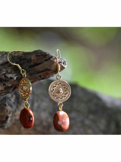 Boucles d'oreilles dorées or fin Rosace, acajou, www.LaTribu.shop (2)