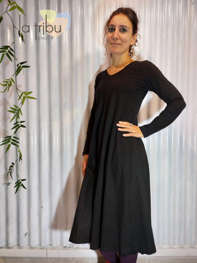 Robe hiver KaliYog monochrome noire