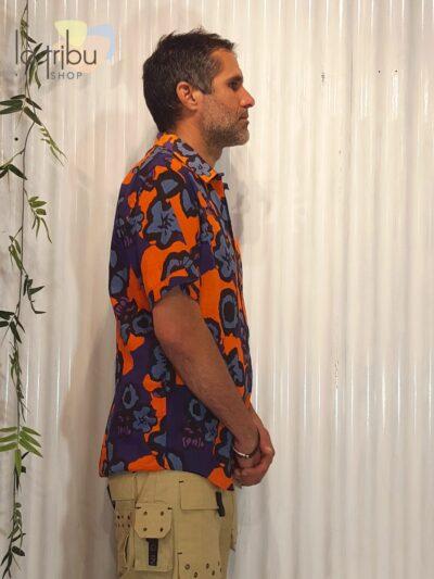 Chemise homme à fleurs hippy chic KaliYog (2)