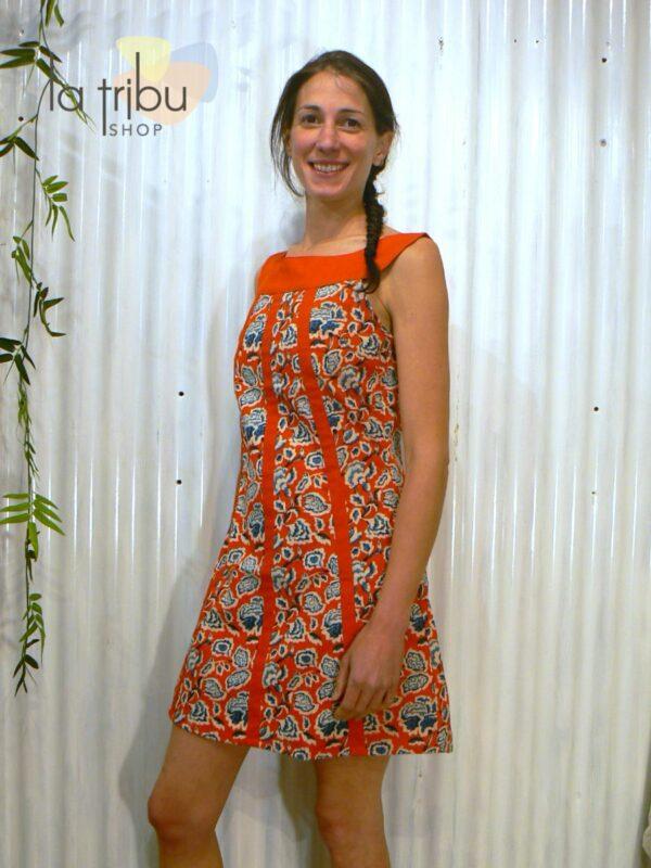 Robe courte hippie fleurie KaliYog (1)