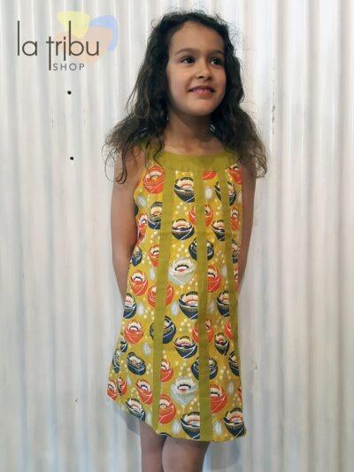 Robe enfant Kali-Yog Cléo, Funky flower mustard, www.LaTribu.shop (1)