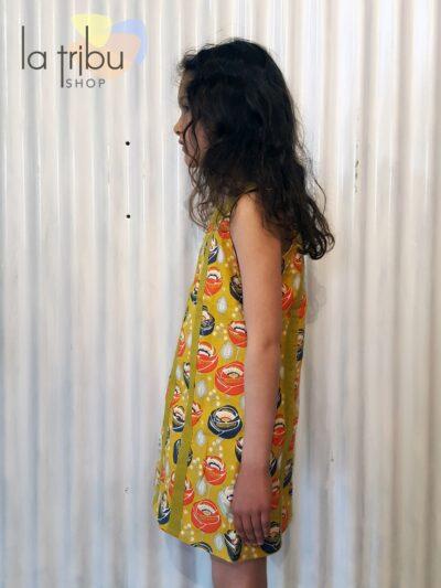 Robe enfant Kali-Yog Cléo, Funky flower mustard, www.LaTribu.shop (2)