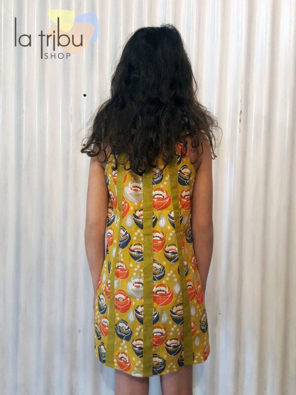 Robe enfant Kali-Yog Cléo, Funky flower mustard, www.LaTribu.shop (3)