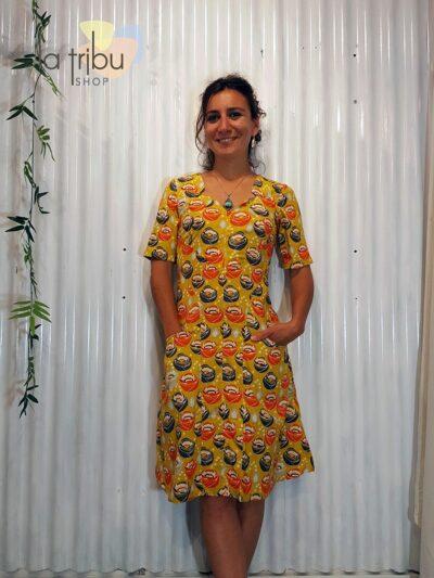 Robe KaliYog Bamboo, Funky flower mustard, www.LaTribu.shop (1)