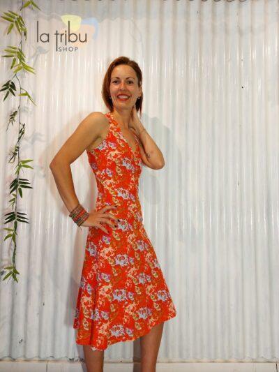 Robe bohème chic orange KaliYog (2)
