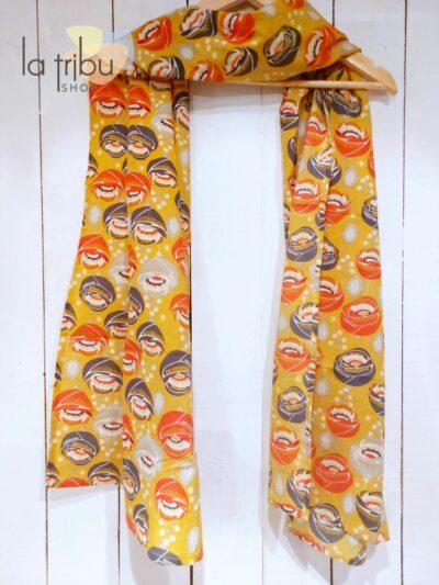 Foulard Kali-Yog, Funky flower mustard, www.LaTribu.shop (1)
